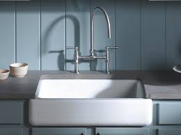 Rustic Kitchen Faucet by Bridge Faucet And Apron Sink Sink In White And Hirise Deck