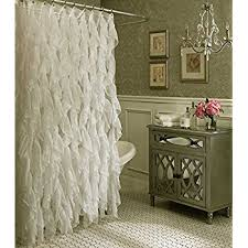 amazon com cascade shabby chic ruffled sheer shower curtain