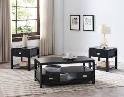 table with drawers and shelves 3 piece black or white wood contemporary storage occasional table