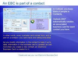 create e business card create an electronic business card in