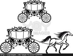 horse carriage retro style silhouettes