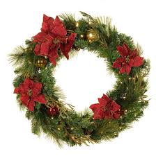 battery wreath with lights lighted bow