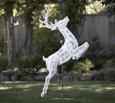 white washed outdoor deer pottery barn