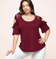 cold shoulder tops ruffle lace cold shoulder top plus size top loralette