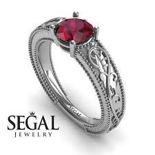 art deco engagement ring 14k white gold 1 carat round cut ruby