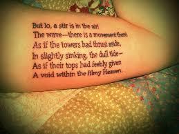 black ink simple poem tattoo design idea golfian com