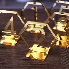 table numbers with pictures acrylic gold geometric table numbers wedding hexagon table numbers