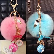 aliexpress key rings images Gift macarons cake keychain fur pompon pompom key chain france jpg