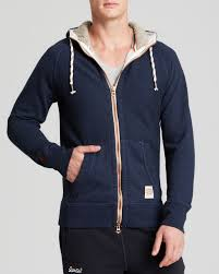 superdry copper label preston zip hoodie in blue for men lyst