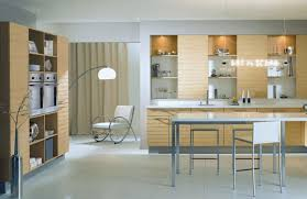 chic small modern kitchen with brown color wooden kitchen cabinets