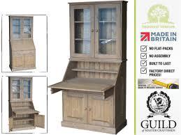 top office bureau solid pine or oak large laptop writing bureau desk with glazed hutch