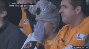 Crying Meme Gif - football gif wolves fan in marvellous koala hat starts crying when