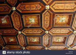 paneled ceiling a room in castle rieger castle stands