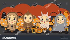 cute halloween background monkey halloween children trick treating halloween costume stock vector