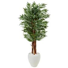 nearly natural indoor parlor palm artificial tree in white oval