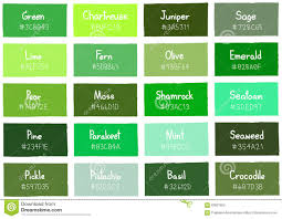 green tone color shade background with code and name stock vector