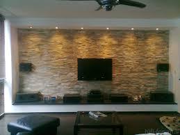 Wohnzimmer Verbau Wohnzimmer Fernseher Wandgestaltung Stein Ruhbaz Com