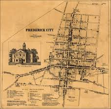 maryland map by city of frederick city from isaac bond map of frederick county 1858