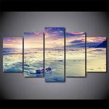sea ocean beach sunset coast waves hd printed home decor canvas