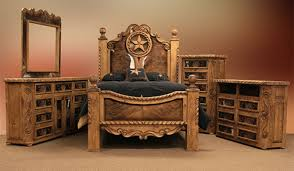 Dallas Designer Furniture Rope And Star Rustic Bedroom Set With - Cowhide bedroom furniture