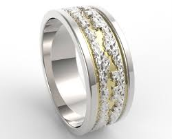 mens hammered wedding bands hammered two tone gold wedding band mens vidar jewelry unique