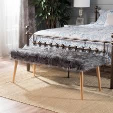 gray furry fabric wood ottoman bench