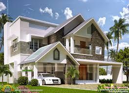idea of modern sloping roof mix villa exterior kerala home design