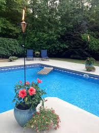 pot plants around swimming pool round designs