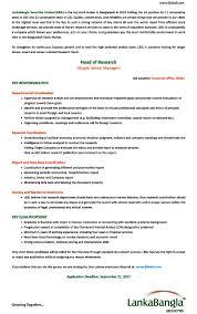 Resume Job Location by Finance Job Circular 2017