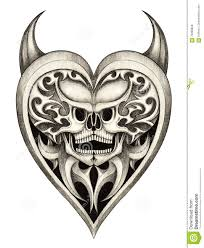 skull heart devil tattoo stock illustration image of fine 70369858