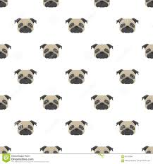 pug wrapping paper seamless vector pattern with pug dog flat icon stock vector