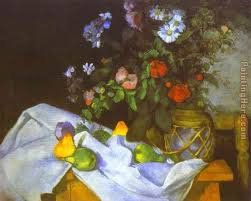 flowers and fruit paul cezanne still with flowers and fruit painting anysize 50