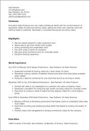 Production Resume Template Video Producer Resume Production Assistant Resume Template