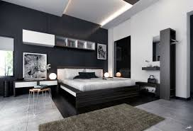 chambre à coucher deco chambre noir blanc tapis gris exemples