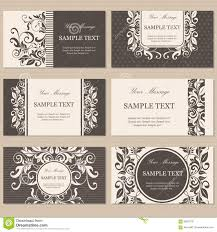 Invitation Cards Business Floral Vintage Business Or Invitation Cards Stock Vector Image