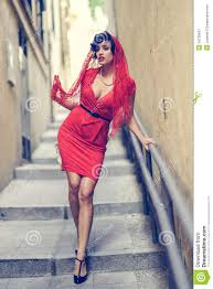 beautiful woman in urban background vintage style royalty free