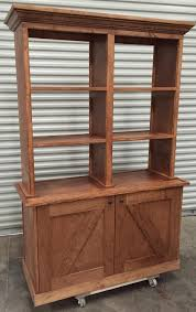 wood retail display hutch cabinet open back rustic barn antique