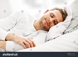Man Sleeping In Bed Picture Showing Young Man Sleeping Bed Stock Photo 566717824