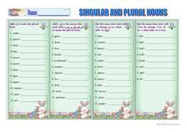 26 free esl singular and plural worksheets