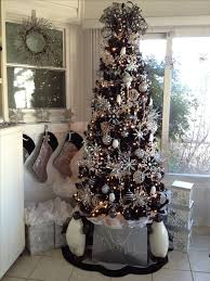 black christmas tree white and silver decorated christmas tree my web value