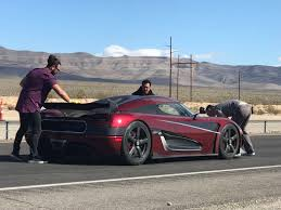 car pushing the limits koenigsegg swedish supercar sinks speed records on nevada highway near