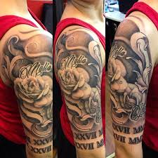 tattoos black and grey roses half sleeve done by