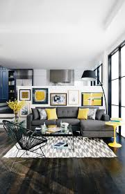 moody gray hues accented with sunny yellow touches will