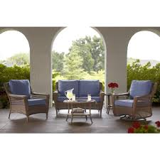 Patio Furniture At Home Depot - hampton bay spring haven brown 5 piece all weather wicker patio