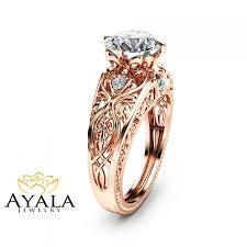 14k rose gold engagement ring unique design 2 carat diamond ring