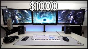 best gaming desk for 3 monitors best triple monitor gaming setup for 1000 youtube