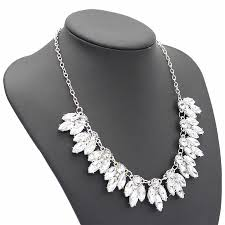 flower silver necklace images Crystal flower silver necklace martha rose boutique jpg