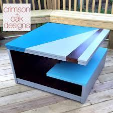modern coffee table design in gf blue milk paints and java gel
