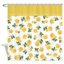 Yellow Flower Shower Curtain Floral Shower Curtains Oh So Girly
