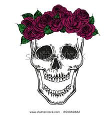 human skull flowers stock vector 659869882